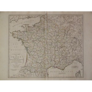 A NEW MAP OF FRANCE DIVIDED INTO EIGHTY THREE DEPARTMENTS